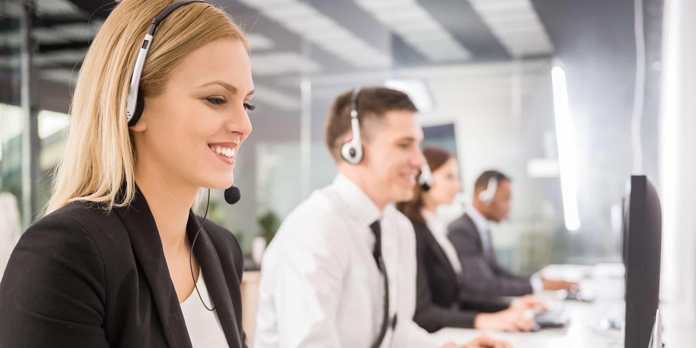 Customer service desk with headphones